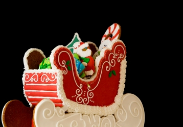 Image of cookies in the shape of a sleigh