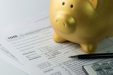 Piggy bank on tax form