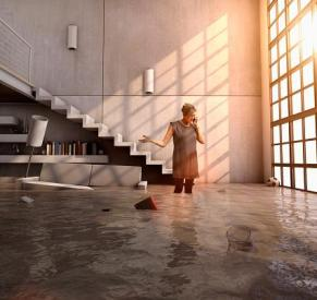 Woman standing in flooded house