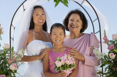 Bride With Mother and Sister