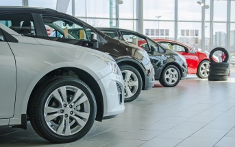 cars in dealer showroom