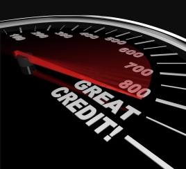 impact of credit on car buying speedometer type image showing scredit scores