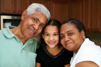 grandparents with young child