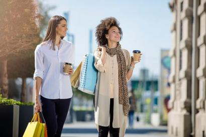 two women shopping in the spring