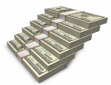 stacks of $100 bills forming steps