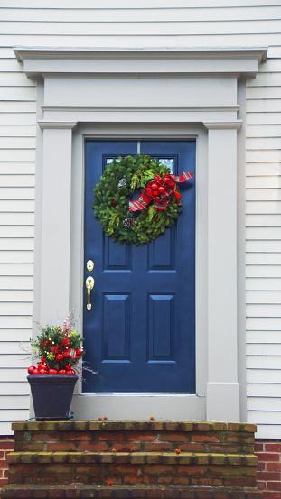 door with holiday wreath