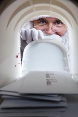 santa looking in mailbox