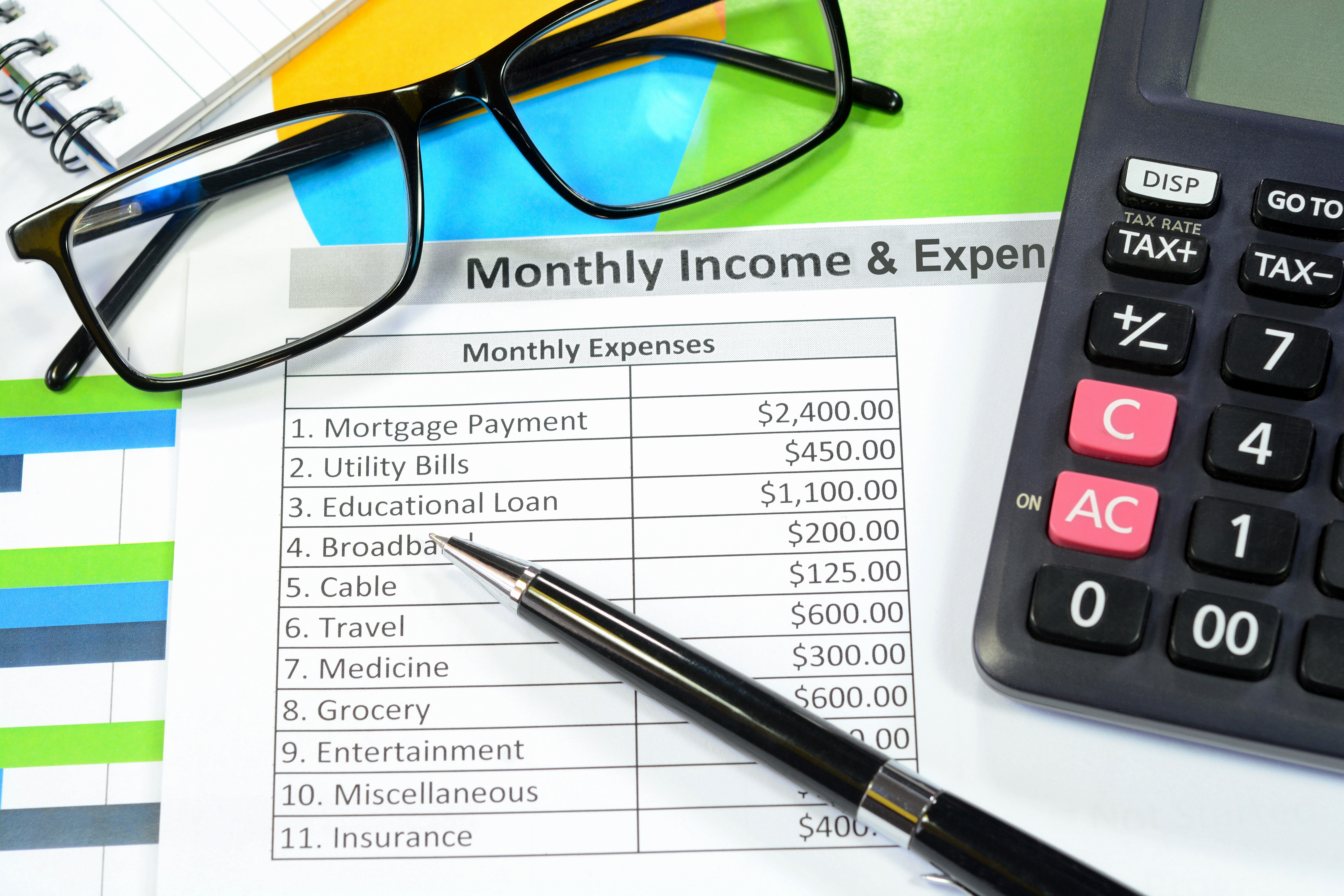calculator, pen, glasses on monthly income and expense sheet